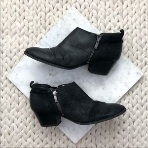 Franco Sarto Blacl Heeled Double Zip Ankle Boots